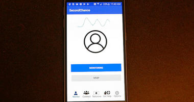 "A demonstration of the smartphone ""Second Chance"" app, which uses sound waves to measure breathing. In first-step testing reported Jan. 9, 2019, the device detected early breathing problems in some people who'd just injected illegal drugs."