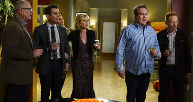 """This image released by ABC shows, from left, Ed O'Neill, Ty Burrell, Sofia Vergara, obscured, Julie Bowen, Eric Stonestreet and Jesse Tyler Ferguson in a scene from """"Modern Family."""""""