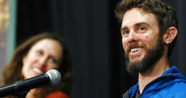 Travis Kauffman responds to questions during a news conference Thursday, Feb. 14, 2019, in Fort Collins, Colo., about his encounter with a mountain lion while running a trail just west of Fort Collins last week.