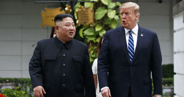 U.S. President Donald Trump and North Korean leader Kim Jong Un take a walk after their first meeting at the Sofitel Legend Metropole Hanoi hotel, Thursday, Feb. 28, 2019, in Hanoi.