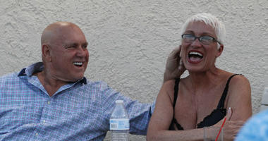 In this April 27, 2018, photo, owner Dennis Hof, left, jokes with madam Sonja Bandolik at the Love Ranch brothel in Crystal, Nev.