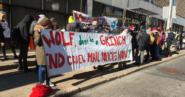 DOC mail policy critics deliver hundreds of holiday cards to Gov. Wolf's door