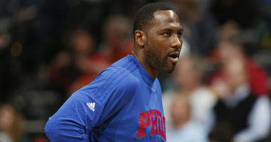 In this March 23, 2016, file photo, Philadelphia 76ers forward Elton Brand stands during the second half of the team's NBA basketball game against the Denver Nuggets in Denver.