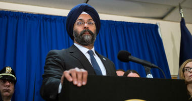 N.J. Attorney General Gurbir Grewal is shown at a press conference on March 18, 2019, at the Camden County Metro Police Department in Camden, N.J.