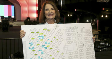 "SAG Awards Executive Producer Kathy Connell holds the seating chart of the ceremony at the 25th Annual SAG Awards ""Cocktails with the SAG Awards"" event at the Shrine Auditorium and Expo Hall on Thursday, Jan. 24, 2019, in Los Angeles."