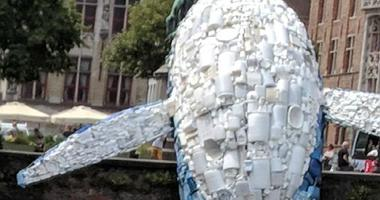 A 12-meter-tall whale built with five tonnes of plastic waste fished from the Pacific and the Atlantic Oceans was installed at the Bruges Triennial in Belgium to raise awareness of the threat posed by plastic waste to marine ecosystems