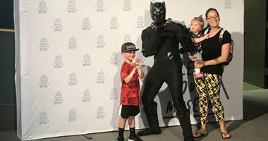 Kids made their own capes and later had the chance to learn about and meet crime-fighting superheroes and everyday heroes. Marvel's Black Panther made an appearance, alongside local firefighter Andy Brown.