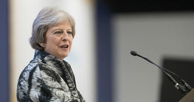 Prime Minister Theresa May speaks at the opening of the Farnborough International Airshow in Hampshire.