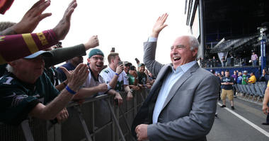 Apr 27, 2017; Philadelphia, PA, USA; Philadelphia Eagles owner Jeffrey Lurie high-fives with fans before the 2017 NFL Draft at Philadelphia Museum of Art