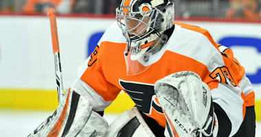 Dec 18, 2018; Philadelphia, PA, USA; Philadelphia Flyers goaltender Carter Hart (79) guards the net against the Detroit Red Wings during the second period at Wells Fargo Center.