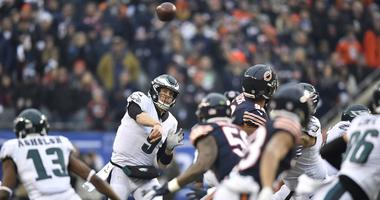 Nick Foles throws a pass against the Chicago Bears.