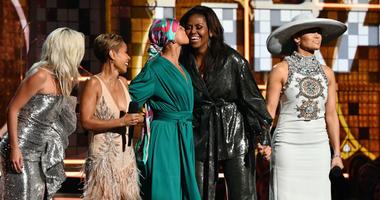 February 10, 2019; Los Angeles, CA, USA; (From Left) Lady Gaga, Jada Pinkett-Smith, Alicia Keys and Michelle Obama and Jennifer Lopez appear during the 61st Annual GRAMMY Awards on Feb. 10, 2019 at STAPLES Center in Los Angeles, Calif.