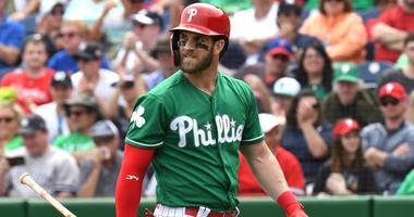 Mar 17, 2019; Clearwater, FL, USA; Philadelphia Phillies designated hitter Bryce Harper (3) reacts after striking out in the first inning of the spring training game against the New York Yankees at Spectrum Field.