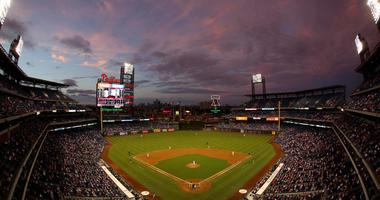 Sep 8, 2014; Philadelphia, PA, USA; General view of the stadium at dusk during the second inning of a game between the Philadelphia Phillies and Pittsburgh Pirates at Citizens Bank Park.
