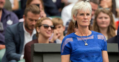 Jul 8, 2015; London, United Kingdom; Judy Murray in attendance for the Andy Murray (GBR) and Vasek Pospisil (CAN) match on day nine of The Championships Wimbledon at the AELTC.