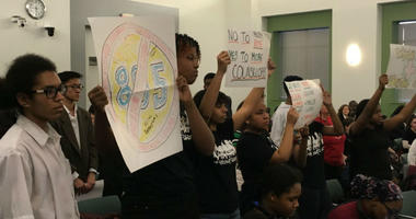 tudents protest metal detector policy at Thursday night's School Board meeting