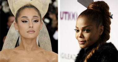 In a May 7, 2018, file photo, Ariana Grande, left, attends The Metropolitan Museum of Art's Costume Institute benefit gala. In a Nov. 9, 2017, file photo, Janet Jackson, right, attends the 22nd Annual OUT100 Celebration Gala at the Altman Building in 2017