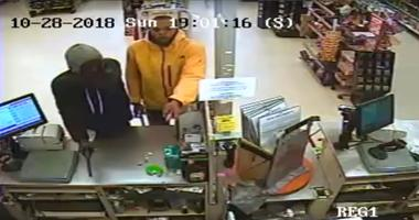 Authorities are searching for a pair of suspects they say robbed least 5 different store in Southwest Philadelphia.