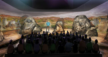 This undated artist rendering provided by BASE Hologram shows a prototype three-dimensional hologram exhibit for a dinosaur exhibit.