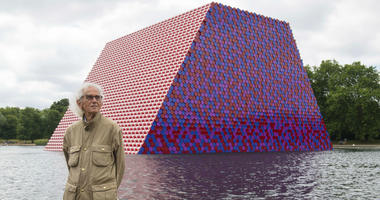 Artist Christo attends the unveiling of his first UK outdoor exhibit, The London Mastaba, on the Serpentine Lake in Hyde Park, central London, Monday June 18, 2018.