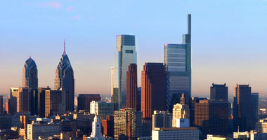 The Comcast Technology Center is the tallest building in the Philadelphia skyline.