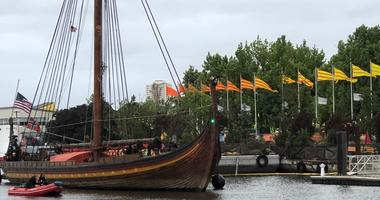 The Draken has docked outside the Independence Seaport Museum.
