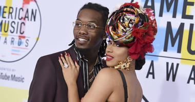 In this Oct. 9, 2018, file photo, Offset, left, and Cardi B arrive at the American Music Awards at the Microsoft Theater in Los Angeles.