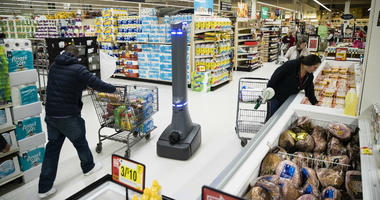 In this Jan. 15, 2019, file photo a robot named Marty cleans the floors at a Giant grocery store in Harrisburg, Pa.
