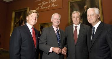 """From left: Thomas M. Daly, president and CEO, The American Revolution Center; H.F. """"Gerry"""" Lenfest, chairman, The American Revolution Center; French Ambassador Pierre Vimont; Edward Lewis, president of the Pennsylvania Academy of the Fine Arts. Sept. 2008"""