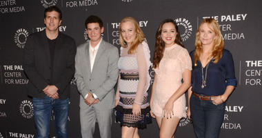 "17 October 2017 - Beverly Hills, California - DOUG ROBINSON, SAM LERNER, WENDI MCLENDON-COVEY and HAYLEY ORRANTIA and LEA THOMPSON. Paley Center For Media Presents: ""The Goldbergs"" 100th Episode Celebration held at The Paley Center for Media."