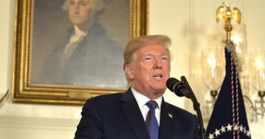 President Donald Trump makes remarks as he speaks to the nation, announcing military action against Syria for the recent gas attack on civilians, at the White House, April 13, 2018, in Washington, DC.