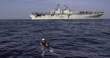 A search and rescue training during a man overboard drill