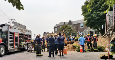 Rescue efforts are still underway after a trench collapsed on a man in the East Oak Lane section of Philadelphia.