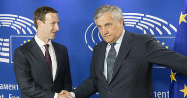 Mark Zuckerberg shakes hands with European Parliament President Antonio Tajani