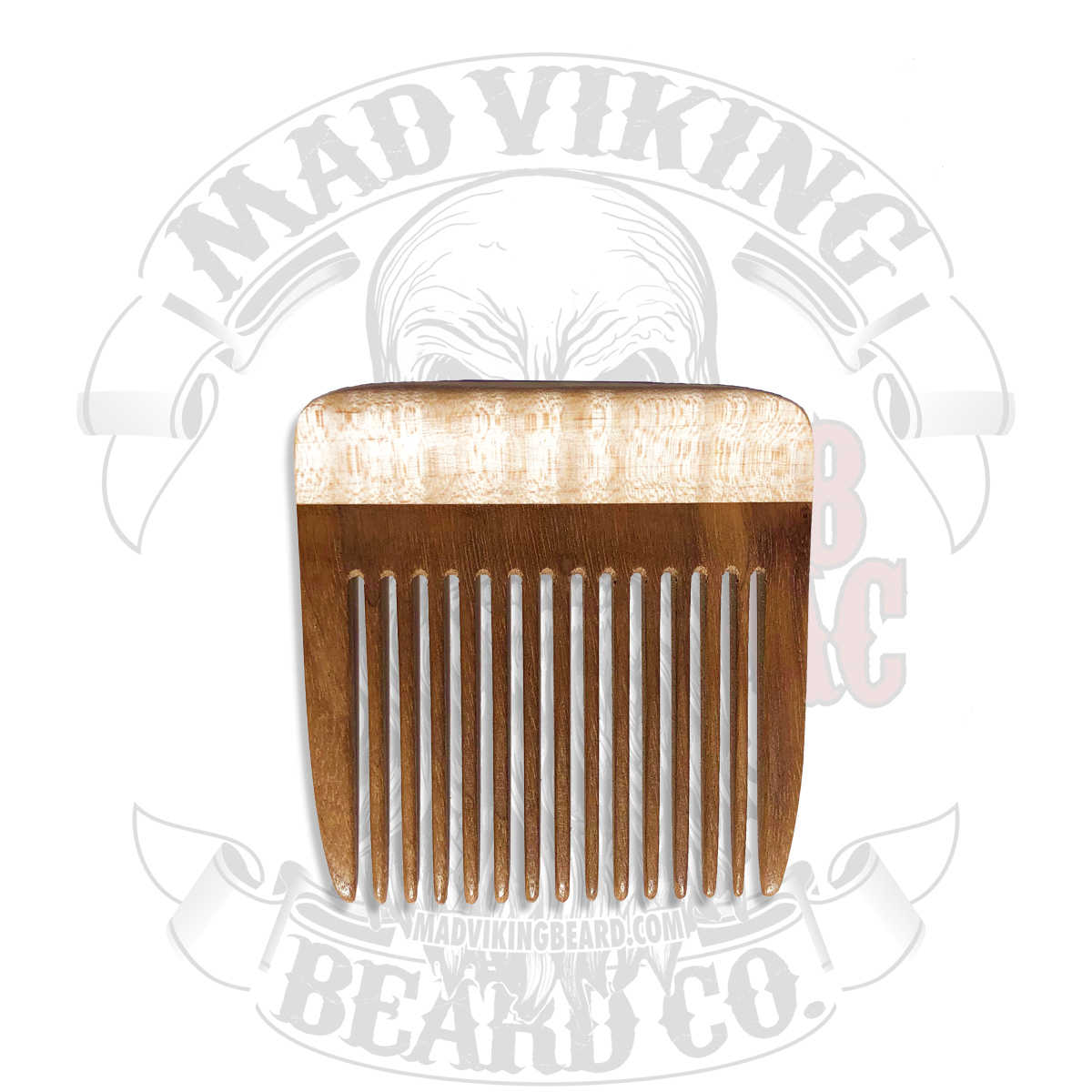 Beard Comb Pick - American Black Walnut with Curly Maple Grips