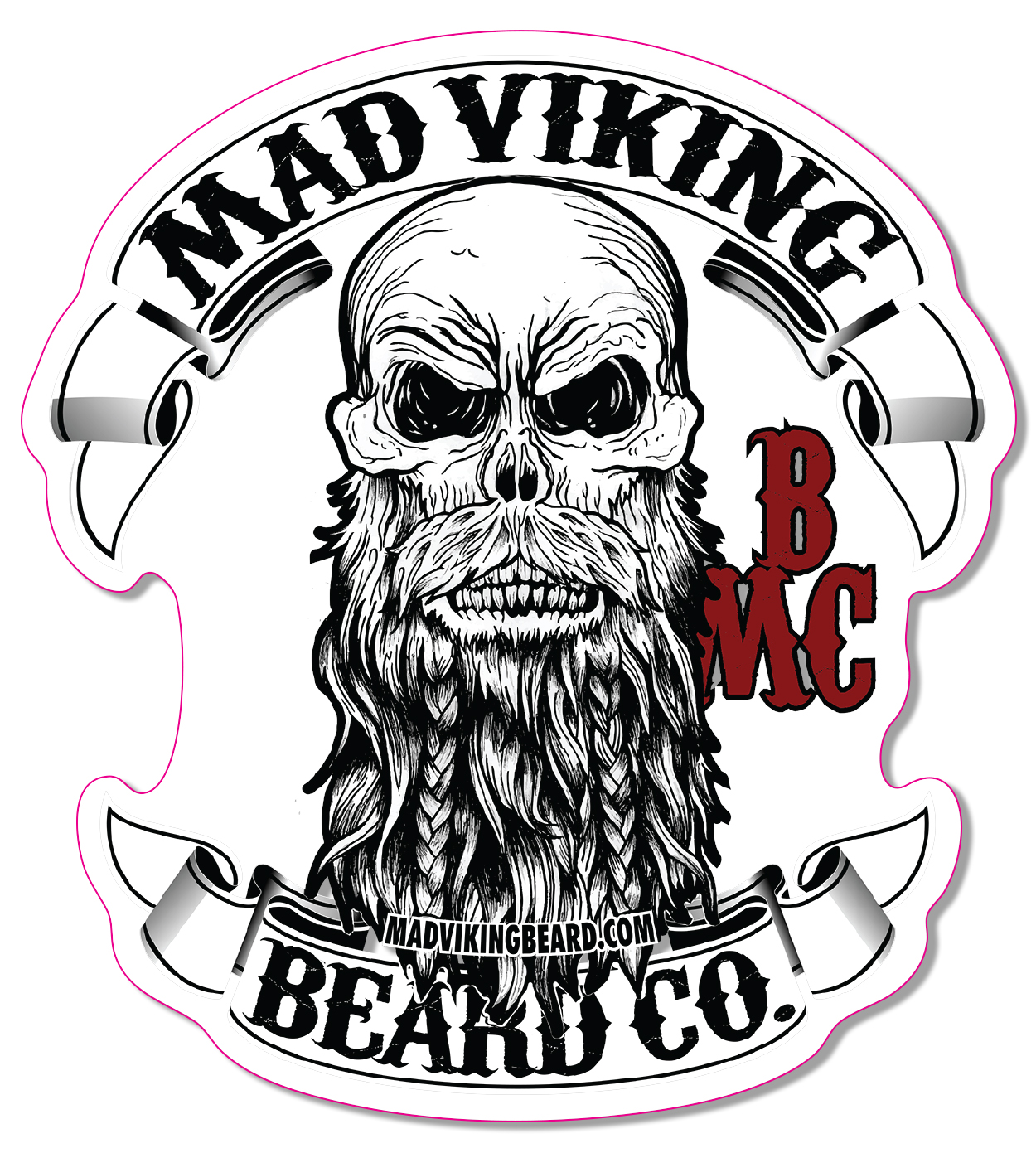 Mad viking logo sticker 4x 4 387