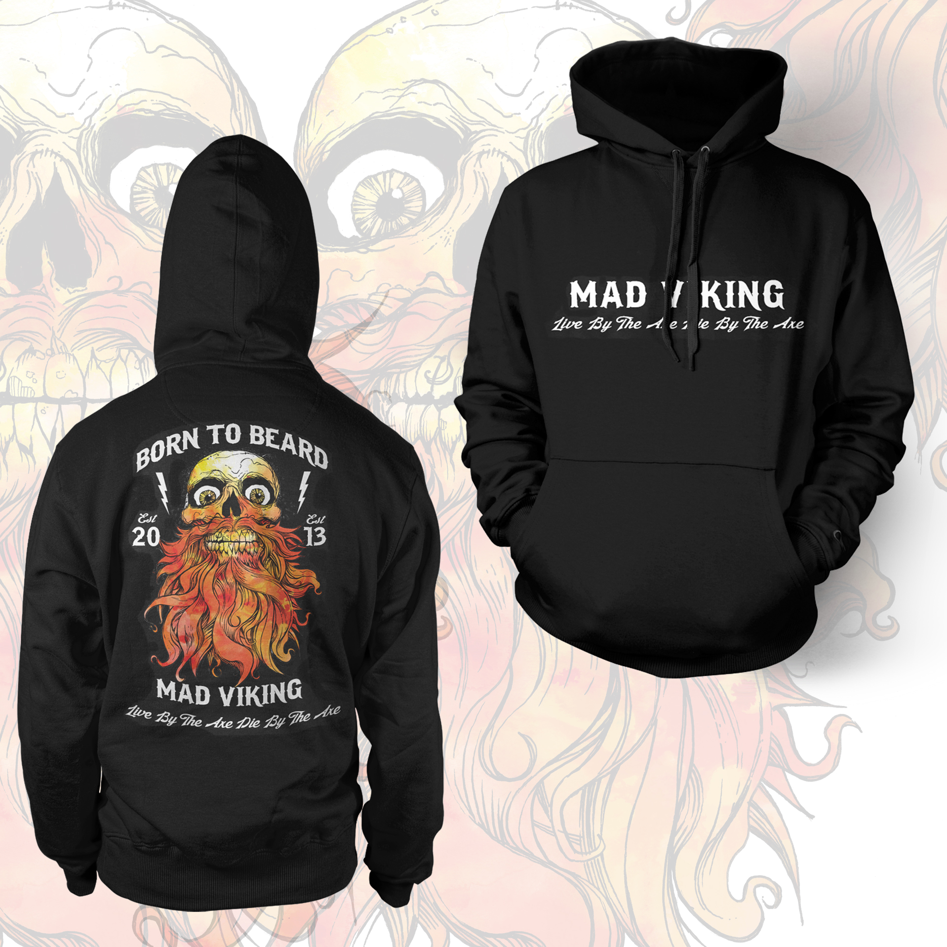 Mad Viking Born To Beard Hoodie