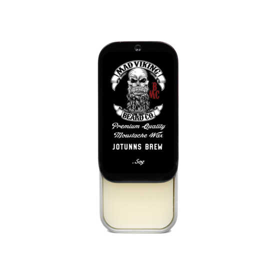 mad viking jotunns brew mustache wax slide top tin