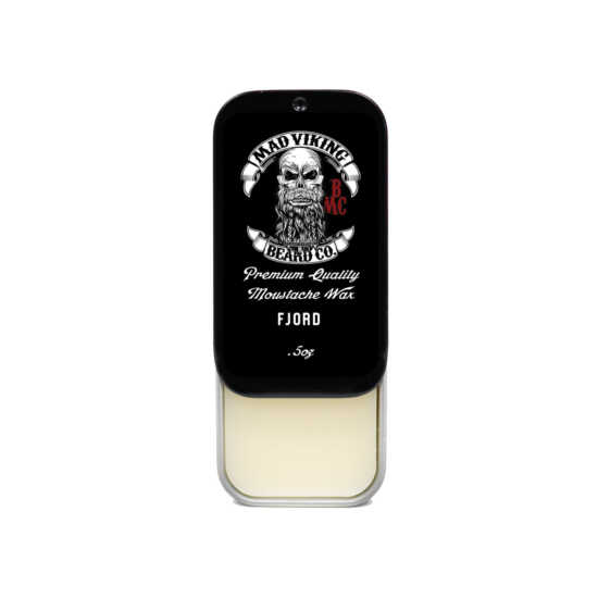 Mad viking fjord mustache wax slide top tin