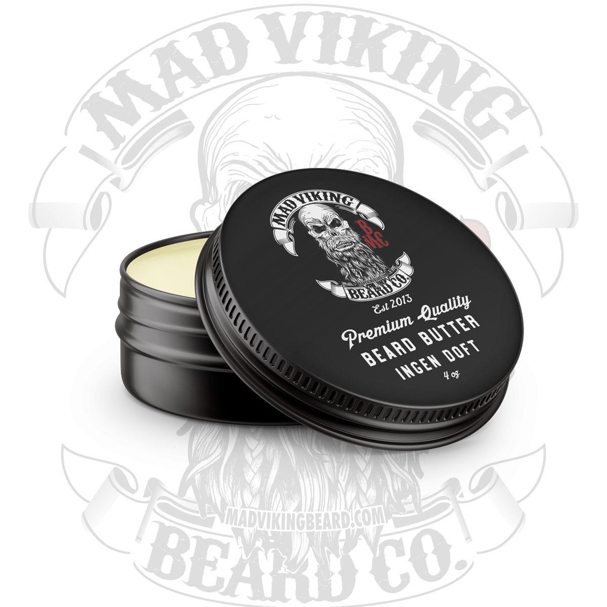 Mad Viking Ingen Doft Beard Butter 4 ounce round tin