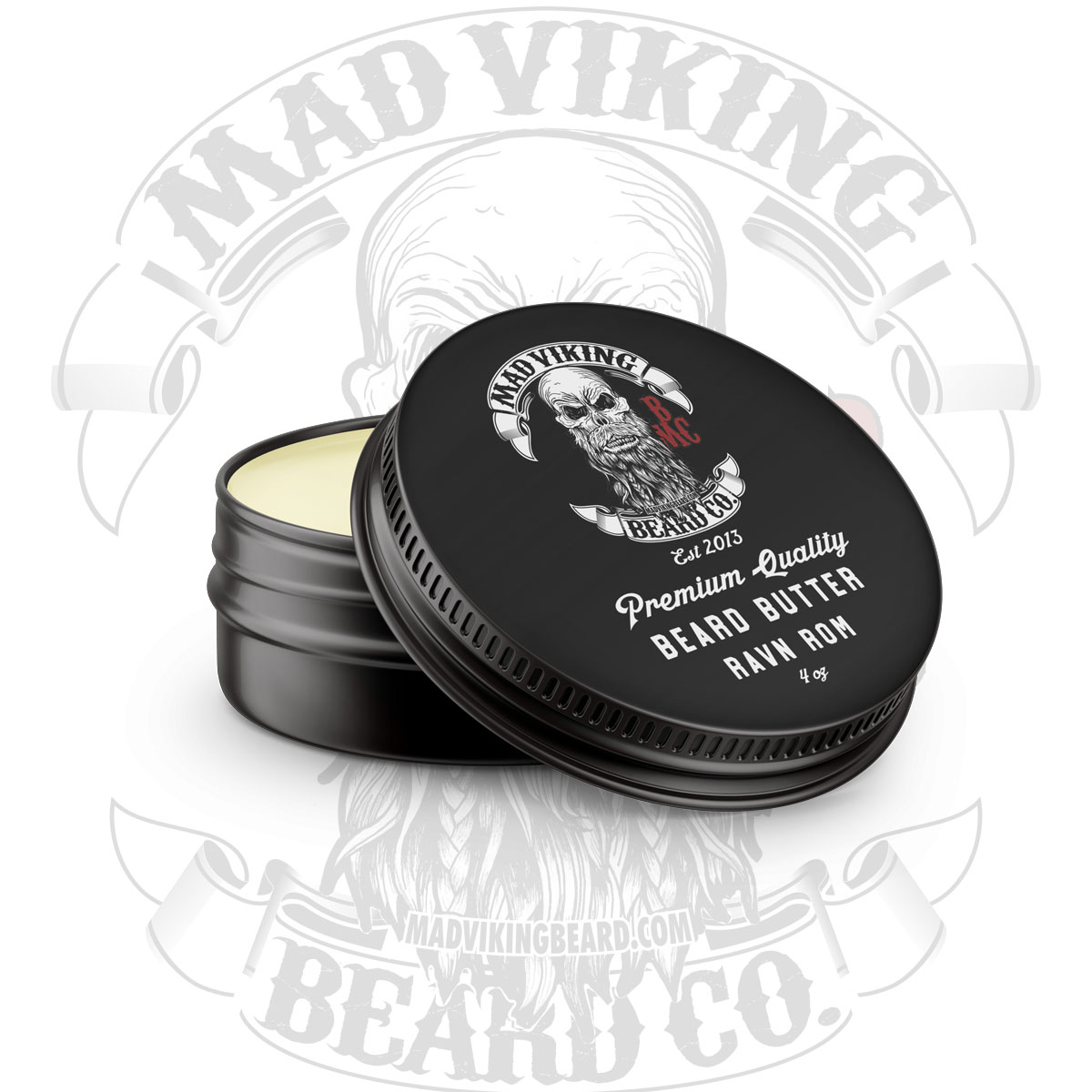 Mad Viking Ravn Rom Beard Butter 4 ounce round tin
