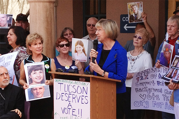 Tucson Shooting Survivor Pam Simon stands with Arizonians on the National Day to Demand Action.