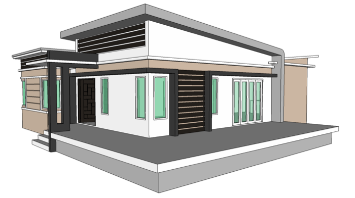 Modern Style Single Storey 2 Bedroom Home Concept