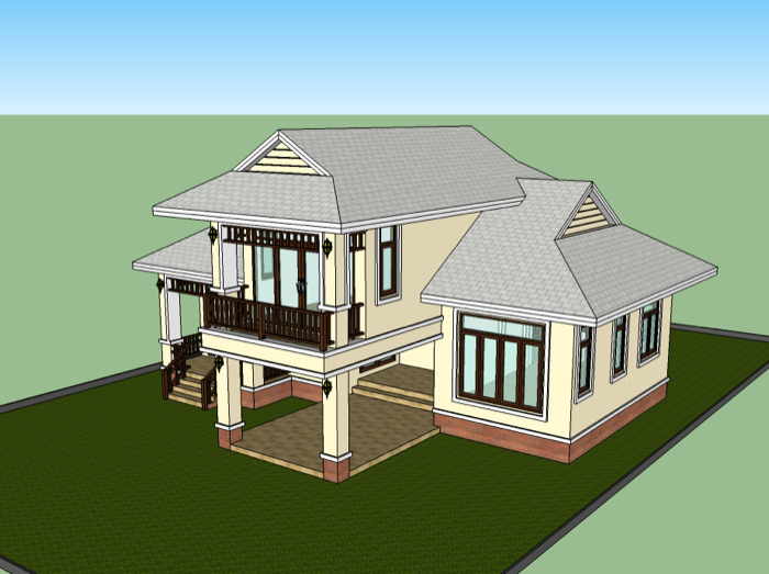 Low Cost Two Storey House Design: 1.5 Storey Low Cost House Design
