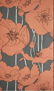 poppy-floral-wall-paper-grey-white-coral