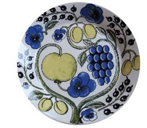 fruit-flower-blue-yellow-plate