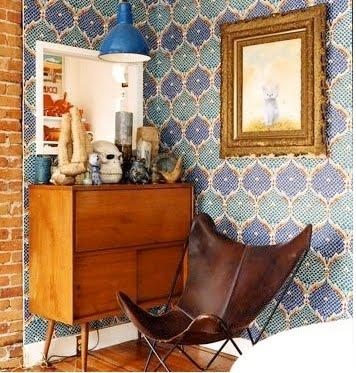 leather-safari-chair-blue-patterned-wallpaper