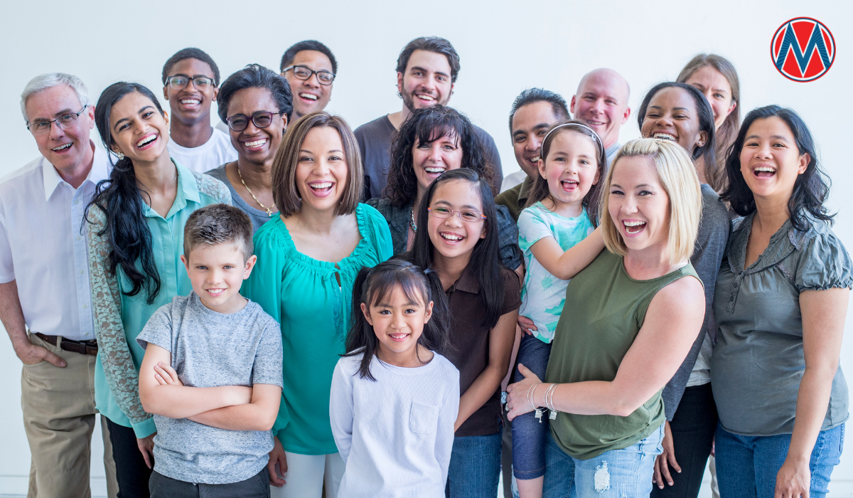 Group of diverse people of different ages smiling