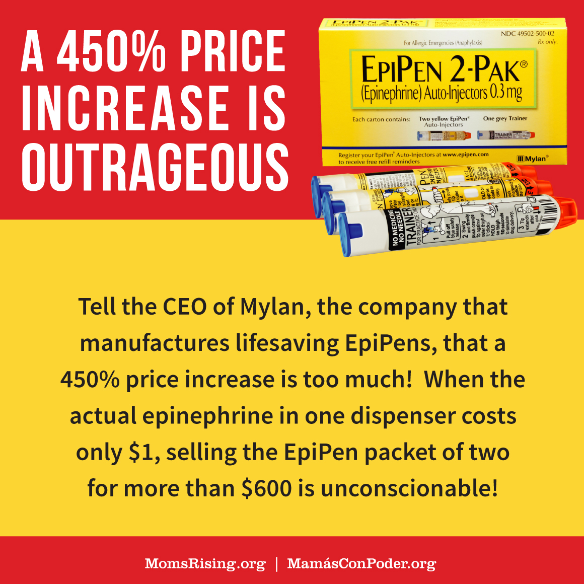 MomsRising org | It's time to bring the price down!