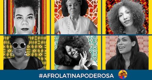 Montage of six women with hashtag #AfroLatinaPoderosa